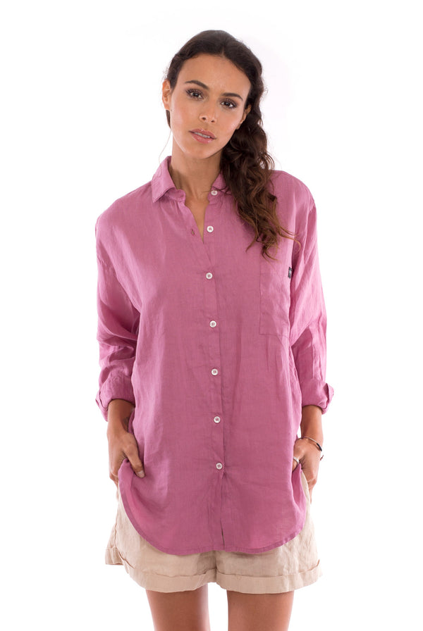 Monet - Linen Shirt - Colour Violet and Creta Shorts Colour Sand 2