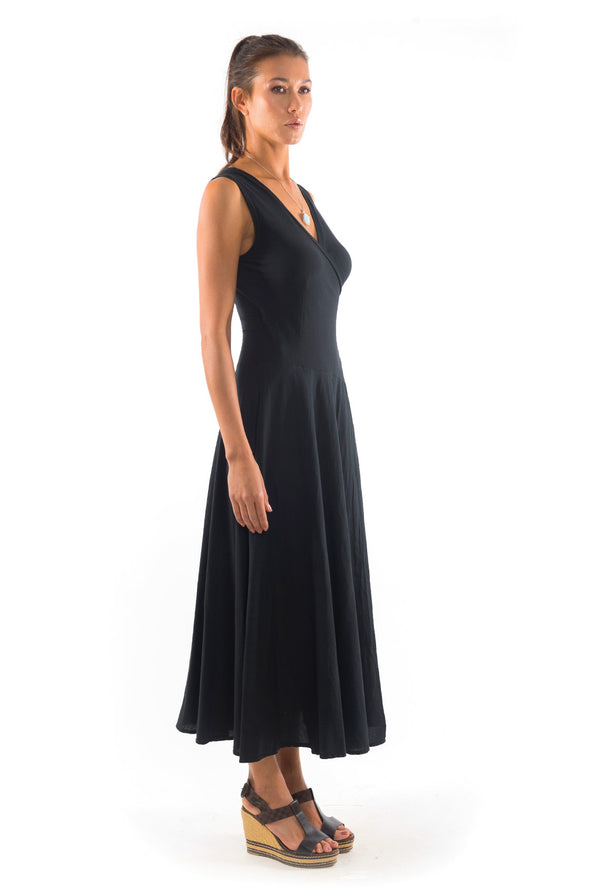 Veronika - Sleeveless - Maxi Dress - Colour Black- 1- RV by Elisa F
