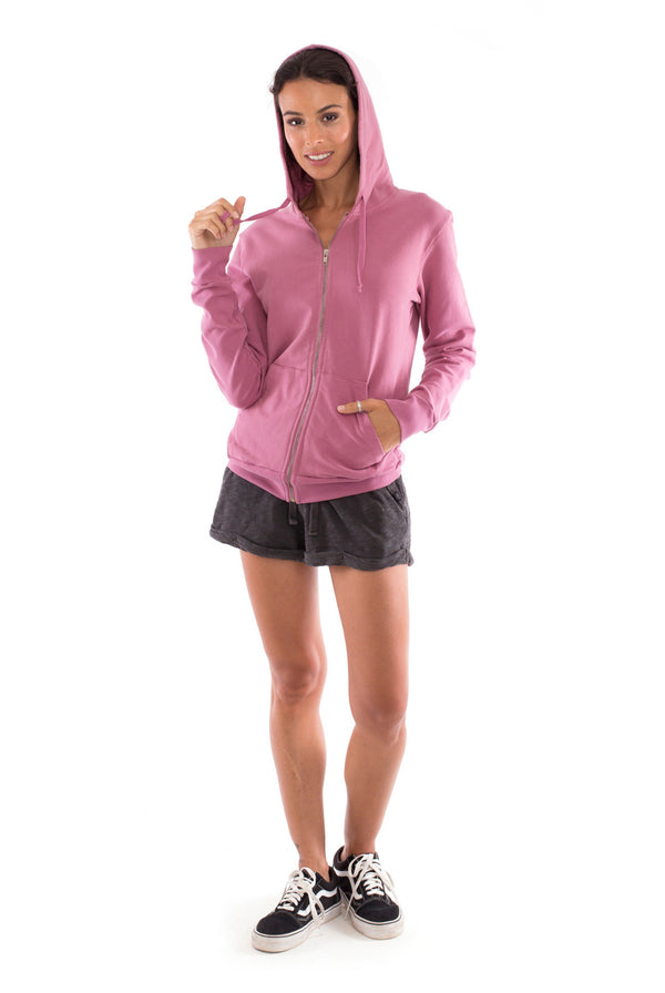 Vedra - Zip Hoodie - Colour Violet and sunset mini shorts colour anthracite-1