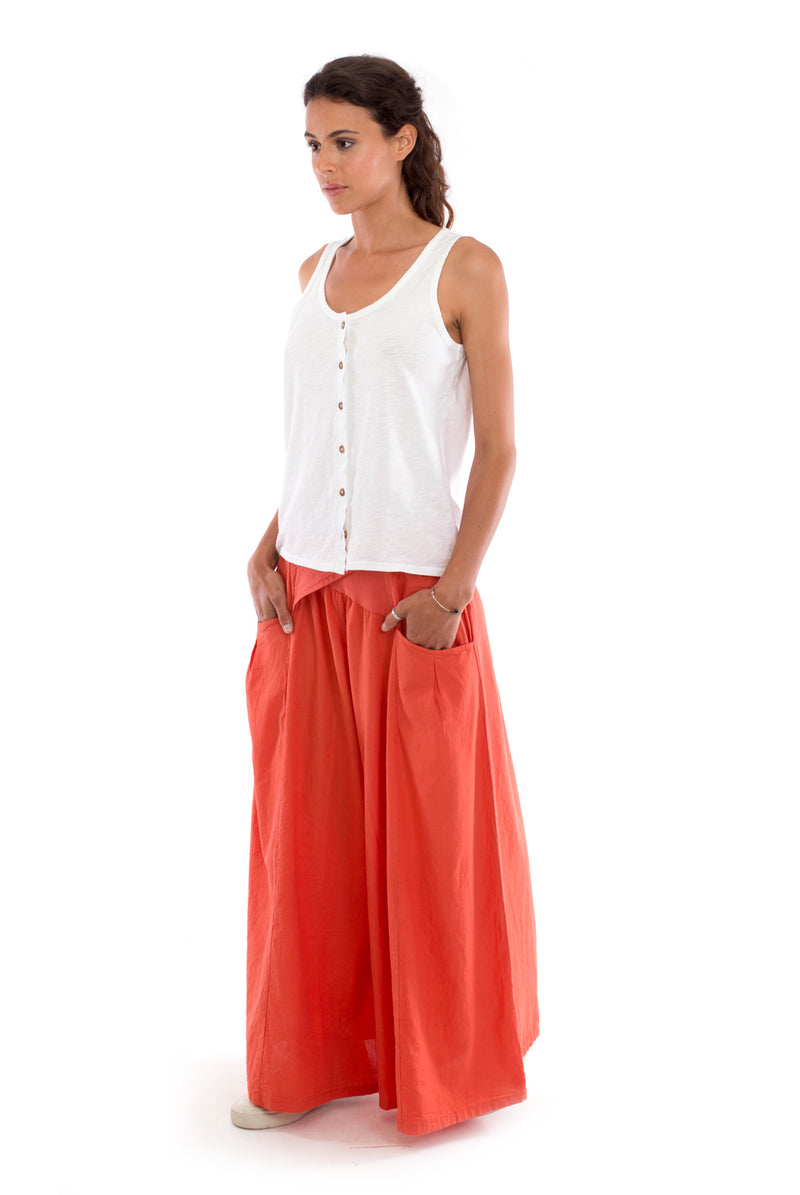 Mona - Wide Leg Pants - Colour Terracotta and Athena - Top - Colour White - RV by Elisa F 2