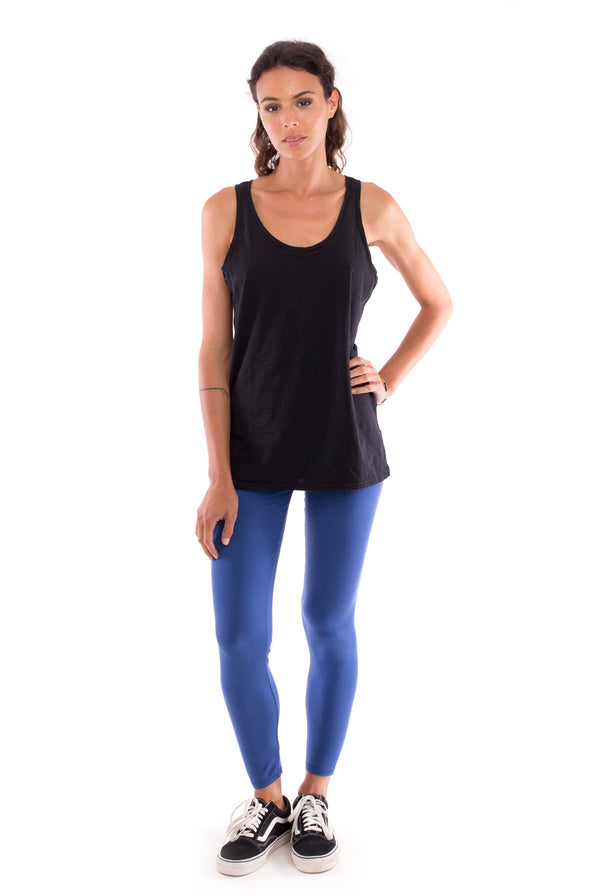 Yoga Leggings - Colour Blue and Haiti Top - Colour Black - RV by Elisa F