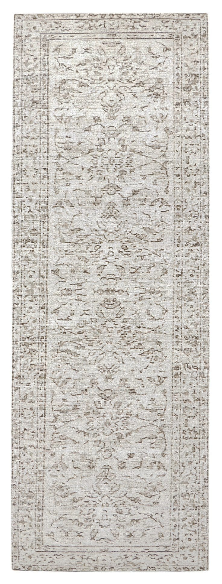 Sonia Ivory and Grey Floral Pattern Runner Rug