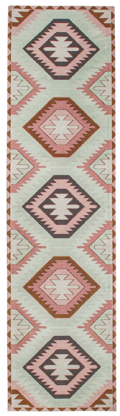 Suzie Pink and Green Pastel Tribal Print Runner Rug