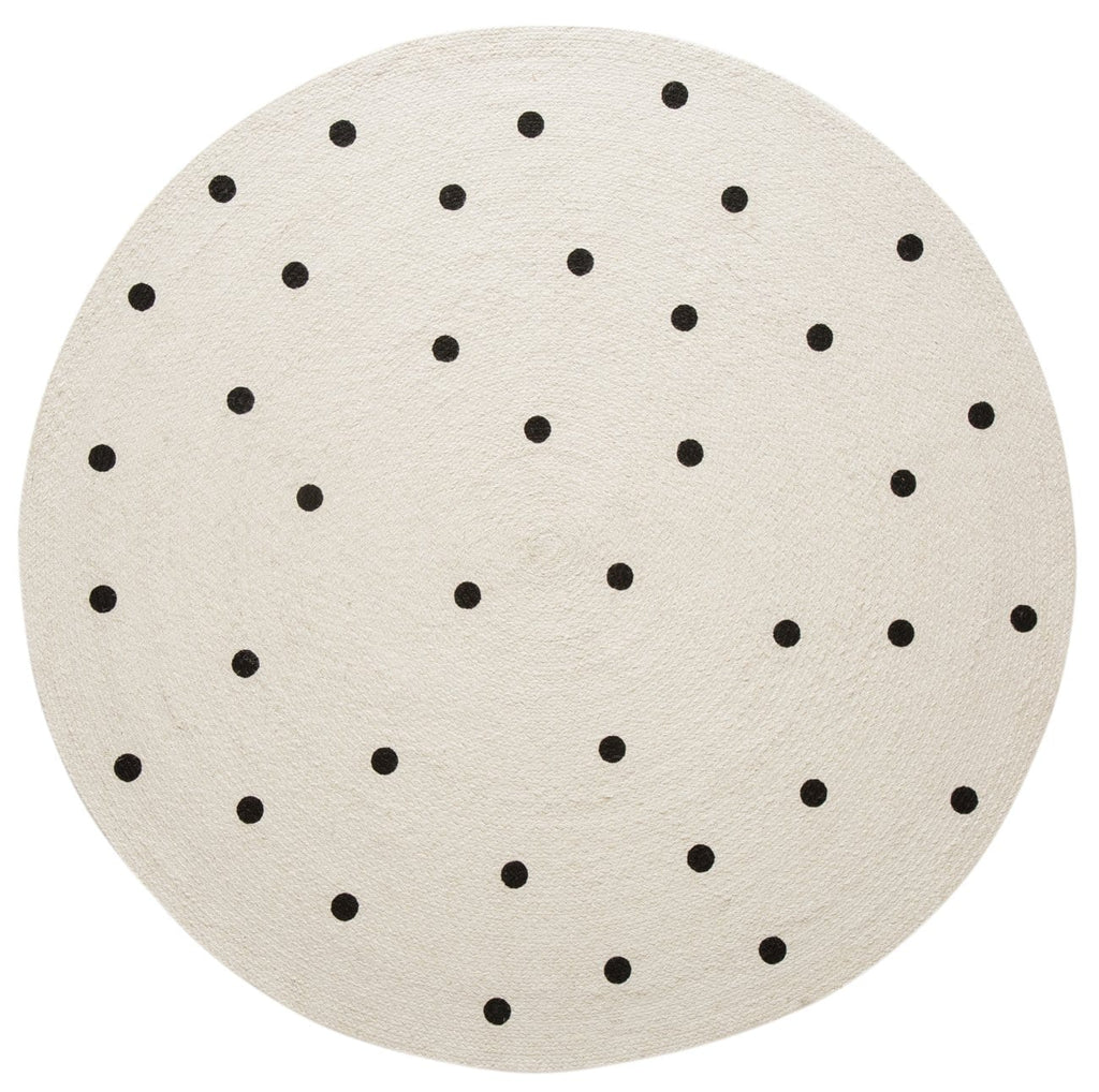 Totit Beige and Black Spotted Round Jute Rug