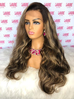 Brazilian Straight w/ Custom Highlights - Transparent  Lace Frontal Wig