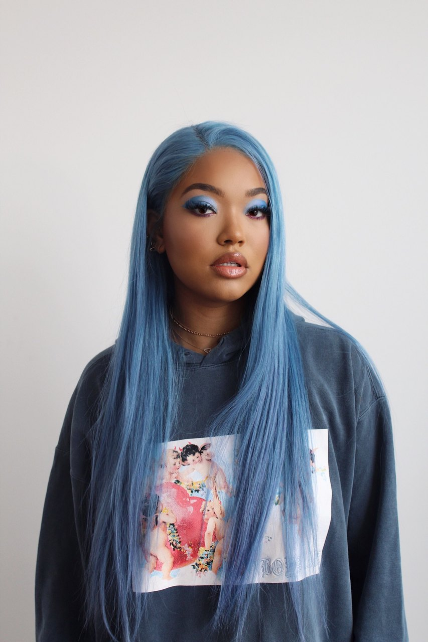 Full Lace Wig European Blonde Custom Colored Denim Blue