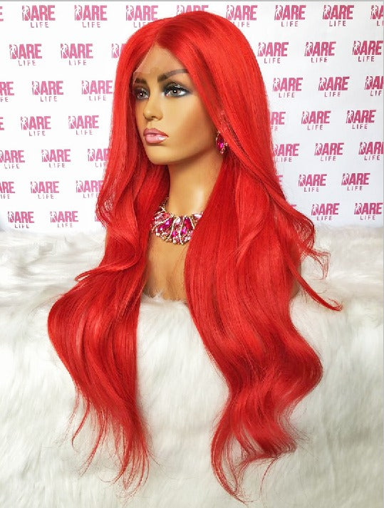 "Transparent Lace Frontal Wig Custom-colored RED (4x24"" Blonde Bundles + 20"" Frontal)"