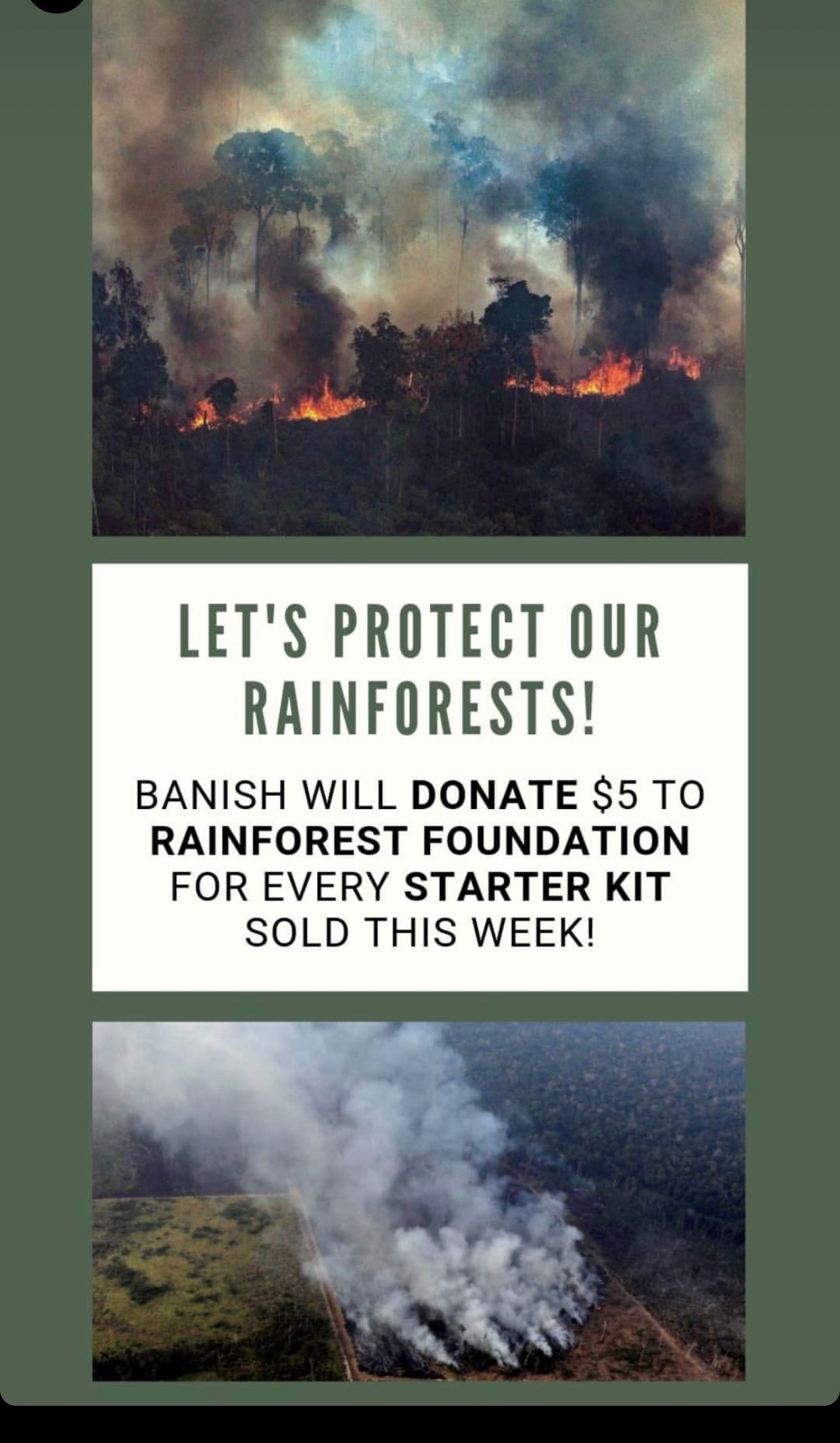 Banish is donating $5 for every starter kit sold to the Rainforest Foundation!