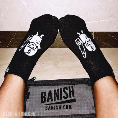 banish soldier socks on model