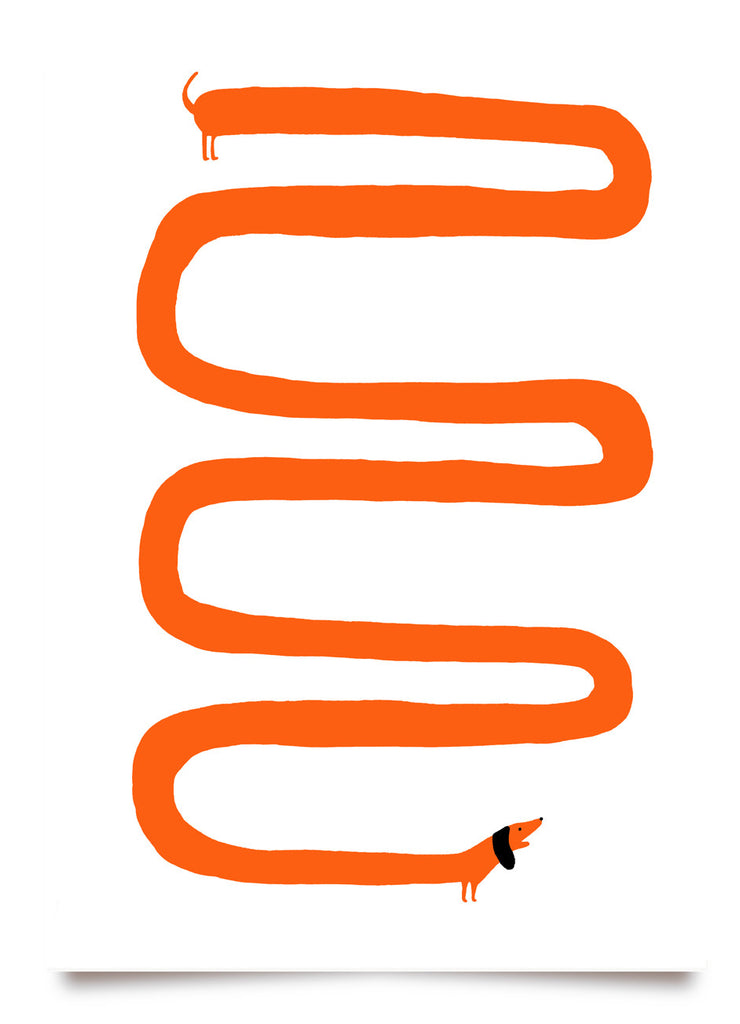 Orange Sausage Dog Poster