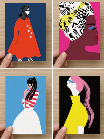 Set of fashion lady postcards