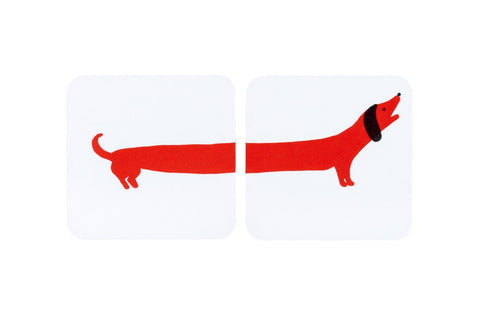 Sausage Dog coasters -Red