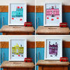 Set of four London Shopping series prints