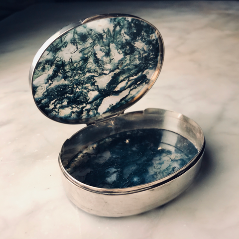 Sterling Silver and Moss Agate Snuff Box