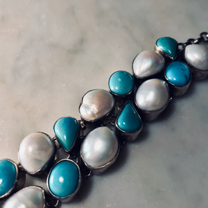 Sterling Silver Turquoise and Pearl Bracelet