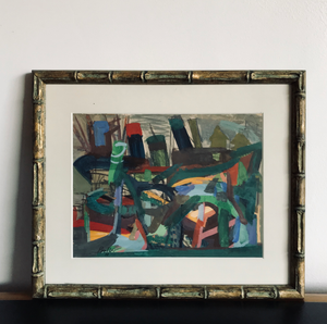 """Abstract City"" Gouache ca. 1960 by Joseph Presser"