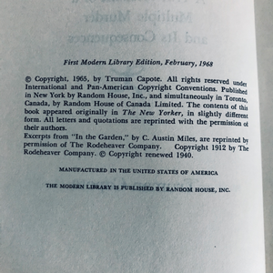 In Cold Blood, Modern Library First Edition, 1968