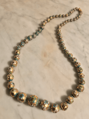 Gilt Floral Cloisonné Necklace