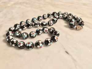 Black Floral Cloisonné Beaded Necklace