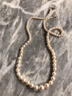 Graduated Pearl Choker with Platinum and Diamonds