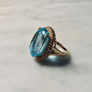 Brilliant Blue Topaz and Diamond Ring