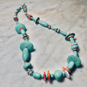 Turqoise and Spiney Oyster Beaded Necklace