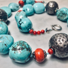 Turquoise. Silver and Coral Necklace