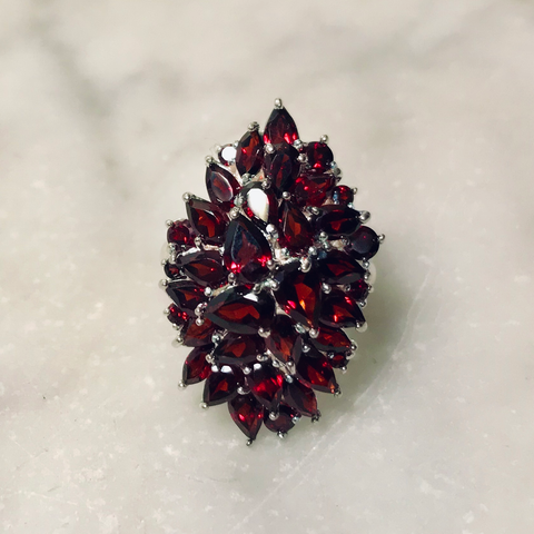 Fiery Garnet Cocktail Ring