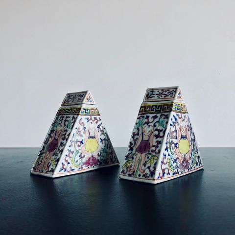 Two Lidded Triangular Vessels