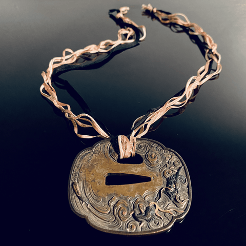 Japanese Bronze Tsuba Necklace
