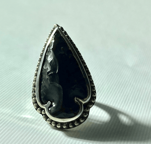 Obsidian Arrowhead in Sterling