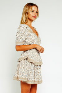 Beige Baby's Breath Ruffled Dress