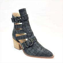 Load image into Gallery viewer, Charcoal Croco Buckle Booties