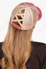 Load image into Gallery viewer, Crisscross Ponytail Cap in Berry/Beige