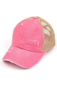Crisscross Ponytail Cap in Pink/Beige
