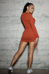 Rusted Ruched Mini Dress