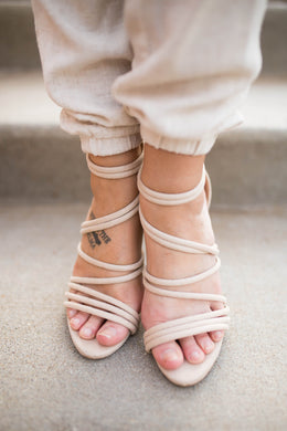 Strappy Taupe Heels