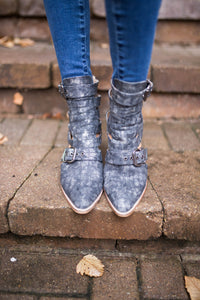 Charcoal Croco Buckle Booties