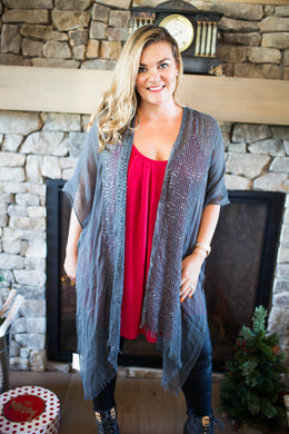 Charcoal Sparkle Open Cardigan