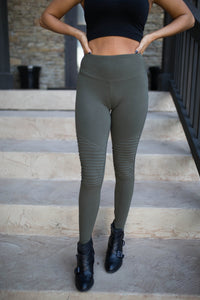 Dark Olive Cotton Moto Leggings