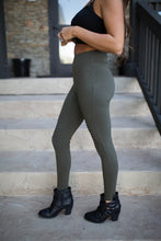 Load image into Gallery viewer, Dark Olive Cotton Moto Leggings