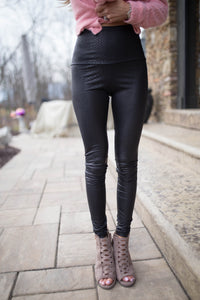 Snake Skin Faux Leather Leggings