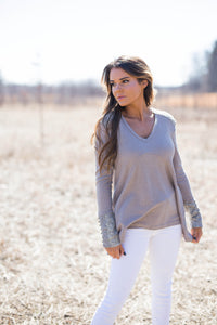 Cappuccino Waffle Knit Top