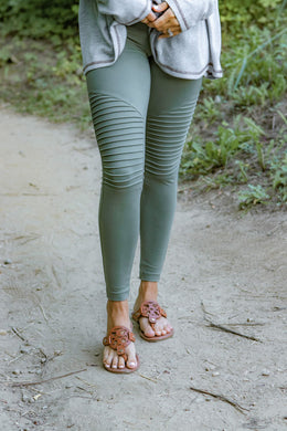 Light Olive Cotton Moto Leggings