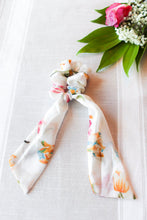 Load image into Gallery viewer, White Floral Scarf Scrunchie