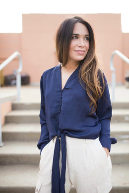 Navy Button-Up Tie Top