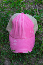 Load image into Gallery viewer, Crisscross Ponytail Cap in Pink/Beige