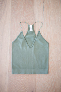 Olive Racerback One Size Cropped Tank