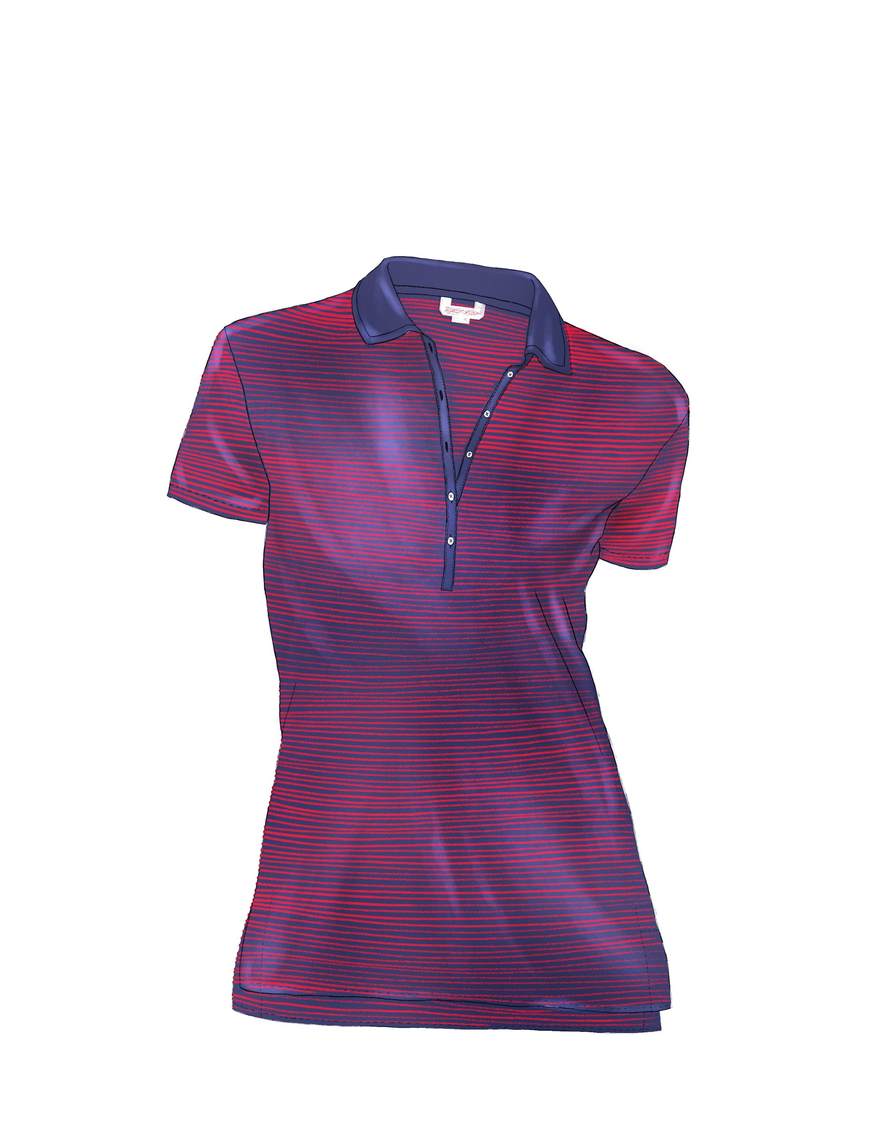 Lady Redd short sleeve knit polo shirt with long placket and sexy curves
