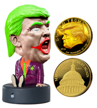 Load image into Gallery viewer, Talking JOKER Trump Bobble Head & Trump Gold Coin Bundle